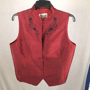 Emanuel Ungaro Embroidered Beaded Raw Silk Vest